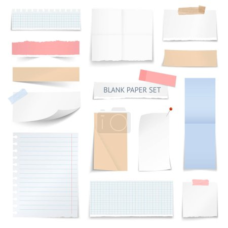 Blank Paper Sheets Strips Realistic Collection