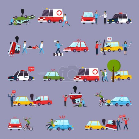 Road Accident Icons Set