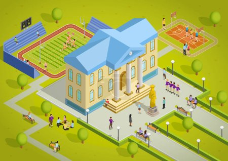 Illustration for University campus building and sport complex facilities with students isometric view poster vector illustration - Royalty Free Image