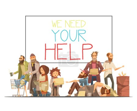 Illustration for Homeless people including kids needing help and white board with inscription cartoon and retro styles vector illustration - Royalty Free Image