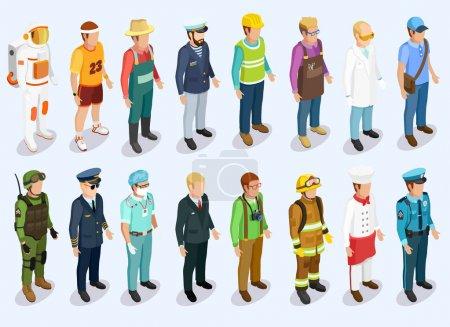 Photo pour Collecte isométrique de personnes avec des hommes de différentes professions et emplois illustration vectorielle isolée - image libre de droit
