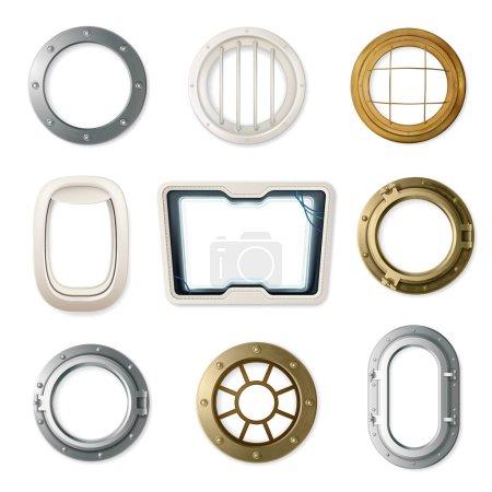 Realistic Portholes Set