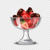 Realistic Strawberry In Chocolate Composition