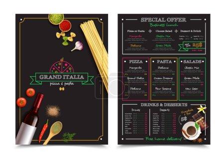 Illustration pour Menu restaurant italien avec offre spéciale pour les éléments de design de déjeuner d'affaires sur fond noir illustration vectorielle isolée - image libre de droit