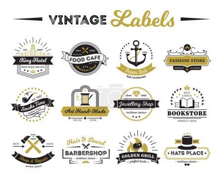 Shops And Cafe Vintage Labels