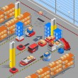 Automatic robotic warehouse section isometric inte...