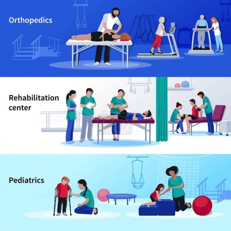 Physiotherapy Rehabilitation 3 Flat Horizontal Center