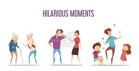 Families Couples Hilarious Moments Cartoon Set