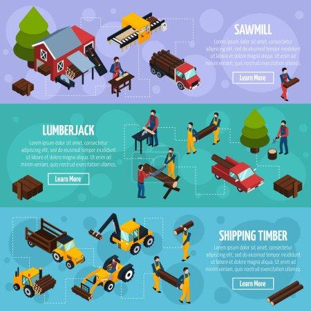 Illustration pour Bannières isométriques horizontales de scierie avec véhicules pour l'expédition de bois bûcherons et outils pour l'abattage illustration vectorielle - image libre de droit