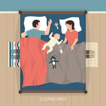 Illustration pour Vue de dessus de jeune famille, dormir à la maison sur un lit double avec allaitement illustration vectorielle plat bébé - image libre de droit