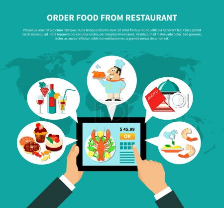 Illustration for Restaurant infographical concept with human hands holding tablet with online food ordering apps and thought bubbles vector illustration - Royalty Free Image