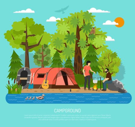 Illustration for Summer family tube tent in campsite recreation area with couple cooking on campfire by the river vector illustration - Royalty Free Image