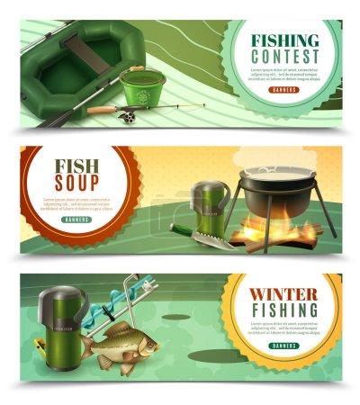 Fishing Sport Horizontal Banners Set