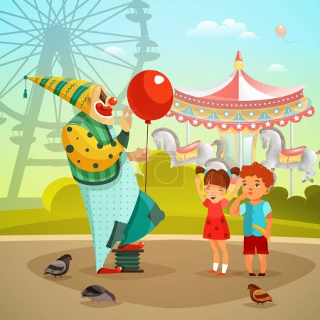 Amusement Park Circus Clown Flat Illustration