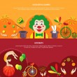 Circus horizontal banners set flat isolated vector...