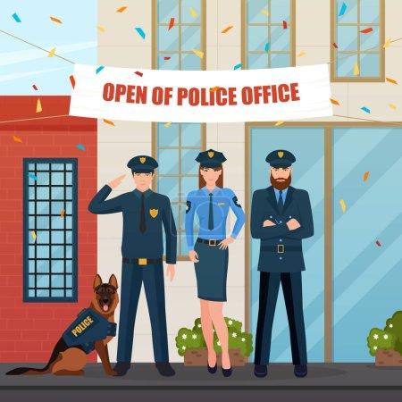 Illustration pour Caractères plats de policiers avec chien de police devant le bureau avec décorations festives et illustration vectorielle confettis - image libre de droit