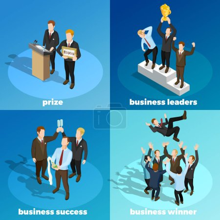 Business Winning Leaders 4 Isometric Icons