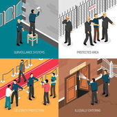 Security Service 4 Isometric Icons Square