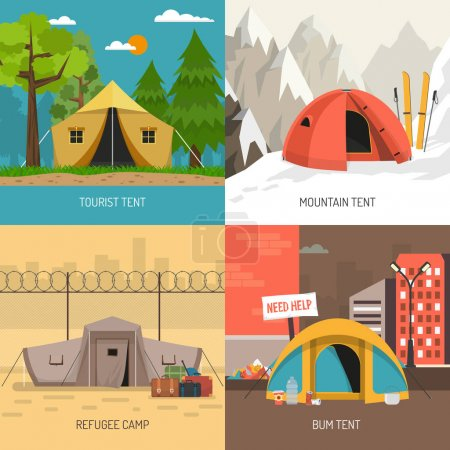 Illustration for Camping tent concept 4 icons square design with family summer and winter sportive models isolated vector illustration - Royalty Free Image