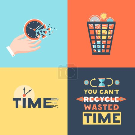 Wasted Time 4 Flat Icons Square