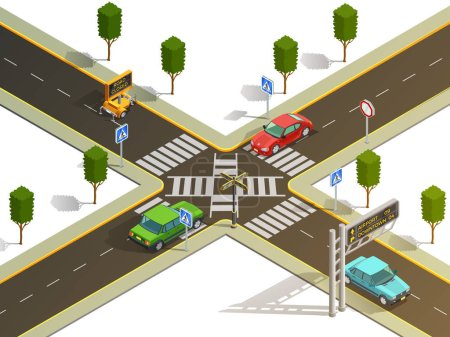 Illustration for City suburb crossroads navigation isometric view with traffic boards pedestrian zebra crossing and cars vector illustration - Royalty Free Image