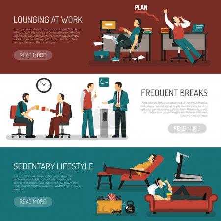 Illustration pour Les gens paresseux ensemble de bannières horizontales avec se prélasser au travail pauses fréquentes assis mode de vie isolé illustration vectorielle - image libre de droit
