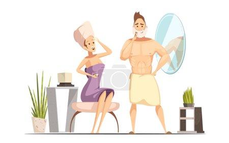 Hair Removal Depilation Family Cartoon Illustration