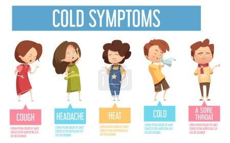 Illustration pour Grippe chez les enfants symptômes communs rhume affiche infographique plate avec des enfants ayant des maux de tête toux courante nez vecteur illustration - image libre de droit