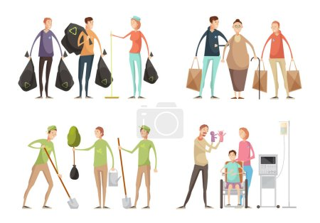 Illustration for Set of four volunteering compositions with groups of young volunteers in uniform performing various service tasks vector illustration - Royalty Free Image