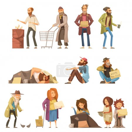 Illustration for Set of homeless people including adults and kids begging money and needing help isolated vector illustration - Royalty Free Image