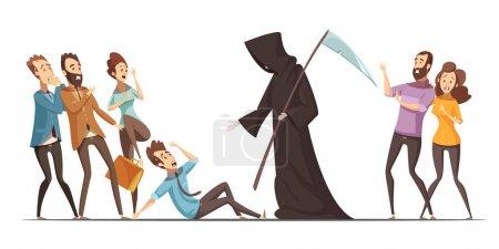 Death Fear Phobia Anxiety Cartoon Composition