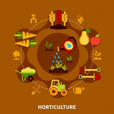 Horticulture Icons Circle Composition