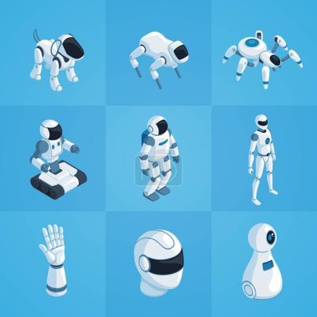 Robots Isometric Icons Set