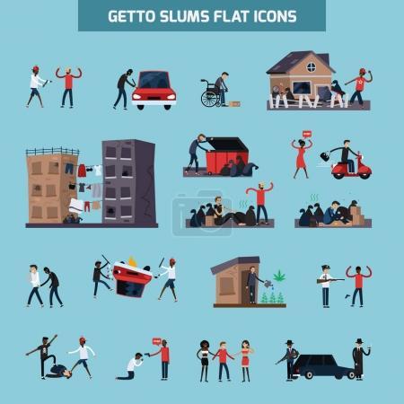 Getta slumsów płaskie Icon Set