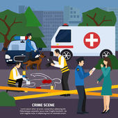 Crime Scene Flat Style Illustration