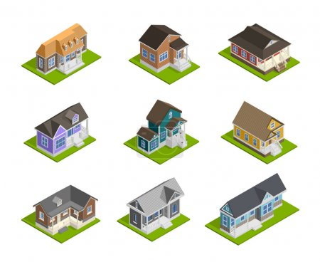 Illustration for Town houses isometric set with detached houses  isolated vector illustration - Royalty Free Image