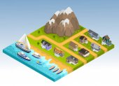 Sea line scape composition with cottage estate isometric houses mountains and coastline with yachts cruisers and boats vector illustration