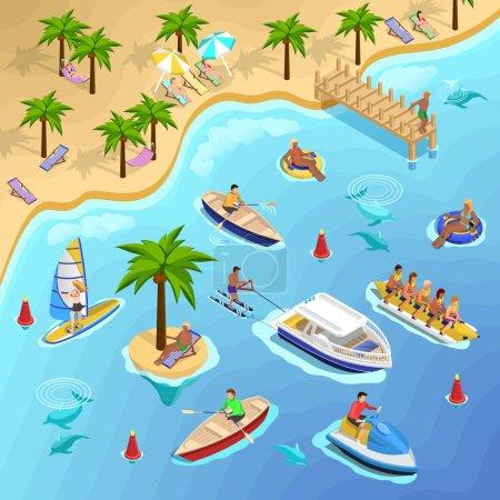 Tropical Beach Boating Background