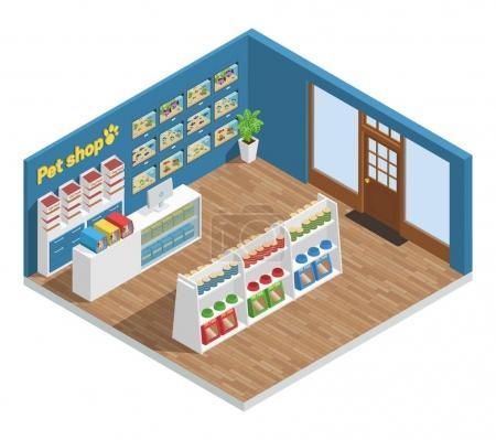 Illustration pour Animalerie composition intérieure avec accessoires alimentaires et jouets illustration vectorielle isométrique - image libre de droit