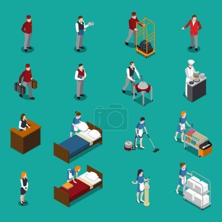 Hotel Staff Isometric Set