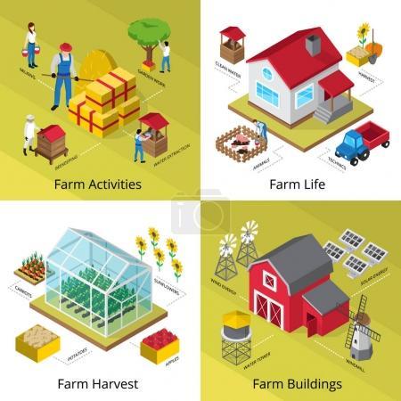 Farm Concept 4 Isometric Icons Square
