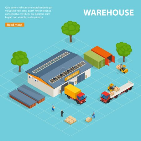 Illustration for Warehouse top view isometric design concept with storage buildings cargo transport loaders and workers vector illustration - Royalty Free Image