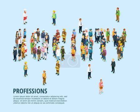 Illustration pour Social people modèle isométrique avec l'homme de différentes professions sur fond bleu illustration vectorielle isolée - image libre de droit