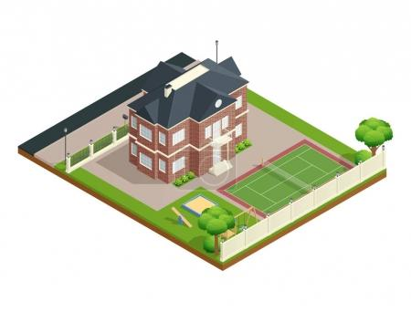 Illustration for Suburb house isometric composition with backyard lawn children playground and tennis court vector illustration - Royalty Free Image