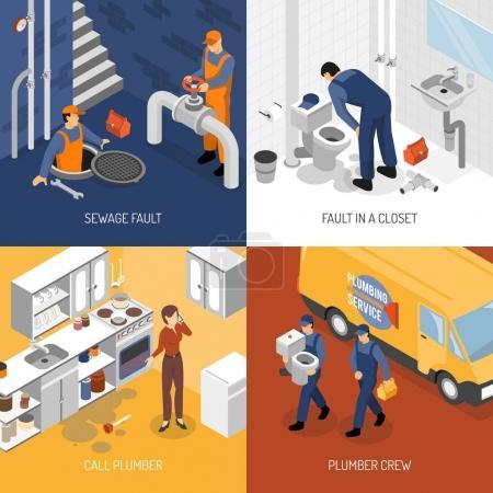 Illustration pour Conception isométrique de plombier avec des compositions carrées de personnages d'équipage de plomberie visite du site et illustration vectorielle du processus de réparation - image libre de droit