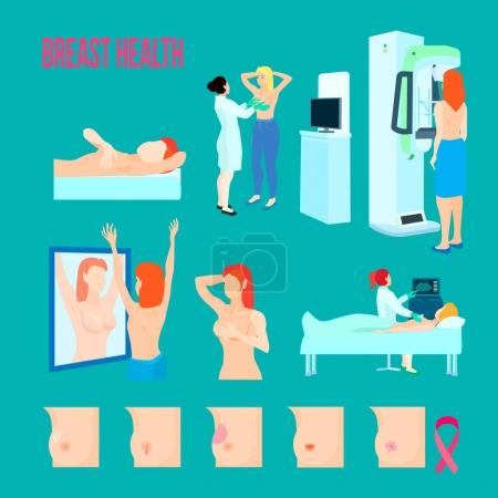 Illustration for Colored flat and isolated breast disease icon set with different disease and ways to treat and recognize disease vector illustration - Royalty Free Image