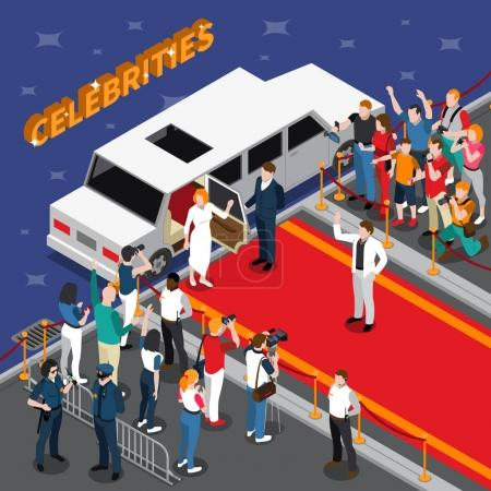 Celebrities On Red Carpet Isometric Composition