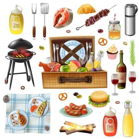 Illustration pour Pique-nique familial barbecue grill boissons alimentaires tapis et accessoires icônes réalistes ensemble avec des saucisses et illustration vectorielle de saumon - image libre de droit