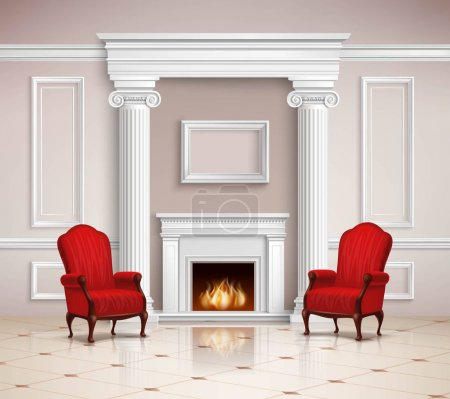 Illustration for Realistic classic interior design with fireplace, moldings, columns and red armchairs on beige floor 3d vector illustration - Royalty Free Image