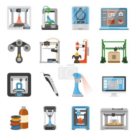 Illustration pour Icônes d'impression 3D ensemble de moniteur avec logiciel sur les détails de l'écran et consommables pour scanners et imprimantes illustration vectorielle plate - image libre de droit